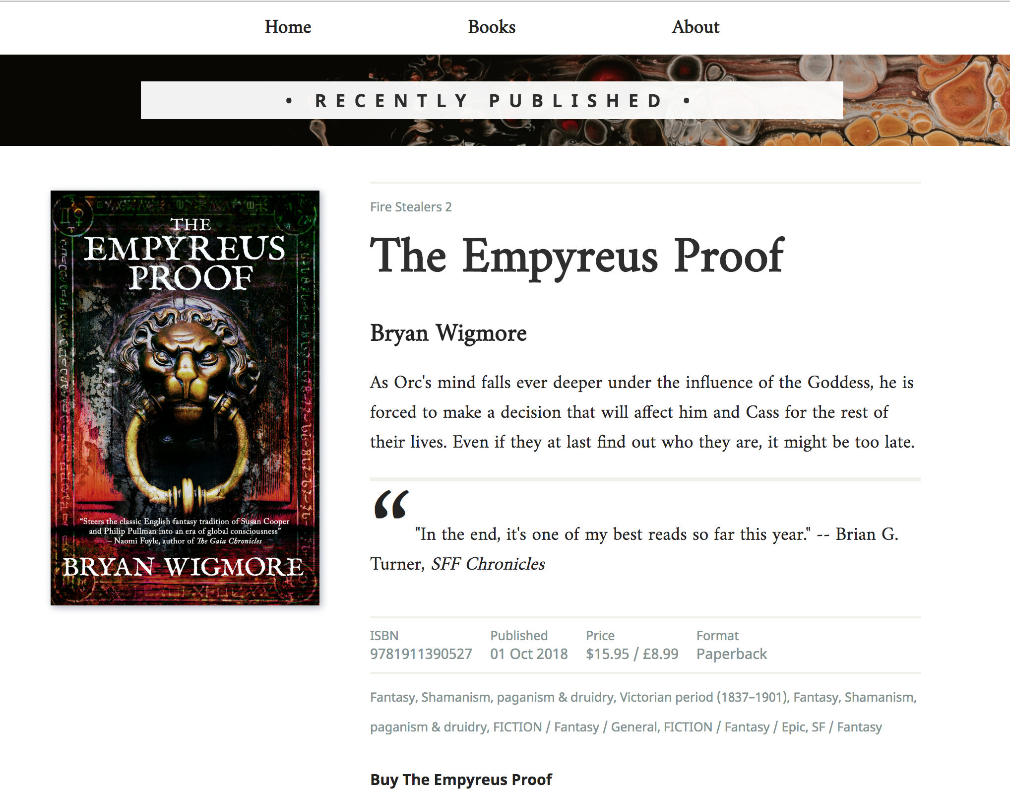 A screenshot of a really nicely laid out book page, with pricing, subject metadata, a well-designed cover, the blurb, the author names and the series, too, with a review quote.