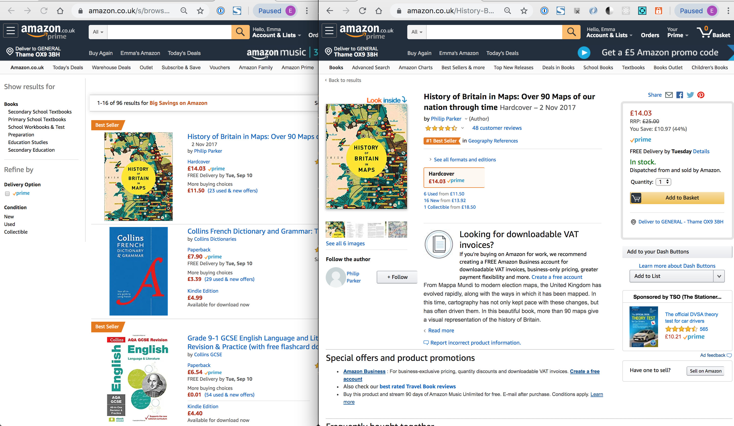 Screenshots of Amazon pages